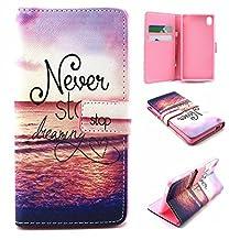 M4 Aqua Case, Xperia M4 Aqua Case, SATURCASE PU Leather Flip Wallet Stand Card Slots Case Cover for Sony Xperia M4 Aqua Beautiful Sea