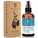 Beauty by Earth Facial Toner; Organic and Natural Witch Hazel Rose Water Astringent; Hydrating and Clarifying Face Spray for Daily Use; No Alcohol or Oil; Skin Cleansing for Men and Women