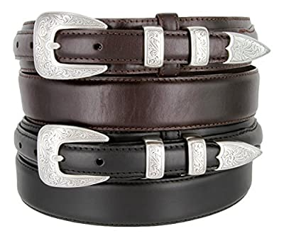 S5527 Oil Tanned Leather Ranger Belt With Engraved Sterling Silver Buckle