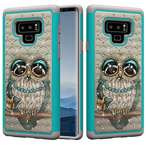 Galaxy Note 9 Case, UZER Dual Layer Shockproof Luxury Glitter Sparkle 3D Diamond Studded Bling Rhinestone Painted Series Hard PC+ Soft Silicone Hybrid Impact Defender Case for Samsung Galaxy Note 9