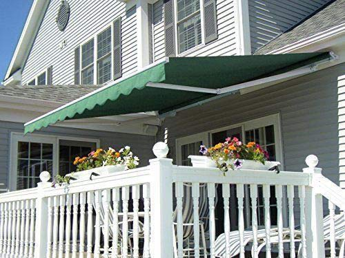 Frame Aluminum 10ft (MCombo 13x8 10x8 12x10 FT Manual Retractable Patio Window Awning Commercial Grade - Quality 100% 280G Polyester Sunshade Shelter Outdoor Canopy Aluminum Frame (12x10 FT, Green))