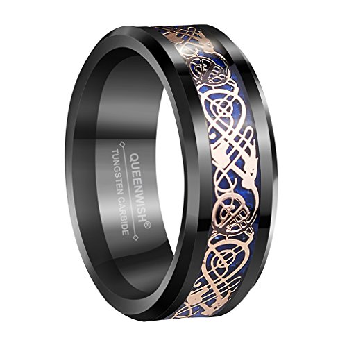 Queenwish 8mm Tungsten Carbide Wedding Band Rose Gold Plated Celtic Dragon Blue Inlay Black Rings Size 10.5