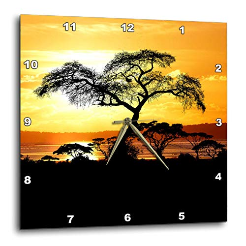 3dRose Sven Herkenrath Nature - African Sunset with Trees and Free Nature Ocean - 13x13 Wall Clock (DPP_309132_2)