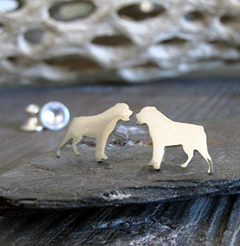 Handmade in the USA. Rottweiler dog tiny stud earrings brushed sterling silver