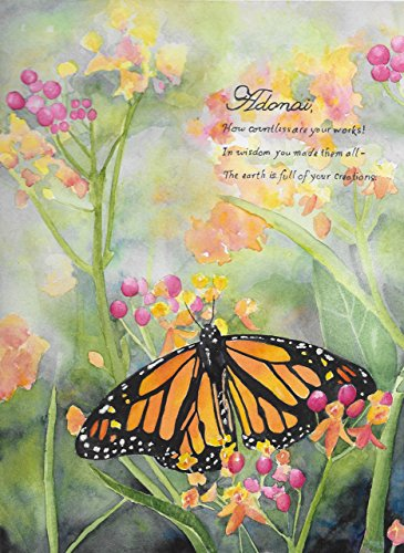 Christian Home Decor - Bible Verse Wall Art- Butterfly and Flower Painting - Watercolor Print
