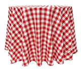 Ultimate Textile 96-Inch Round Polyester Checkered Tablecloth Red and White