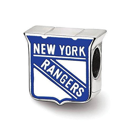 (Mia Diamonds 925 Sterling Silver NHL LogoArt New York Rangers Enameled Logo Bead Charm for Charm Bracelet)