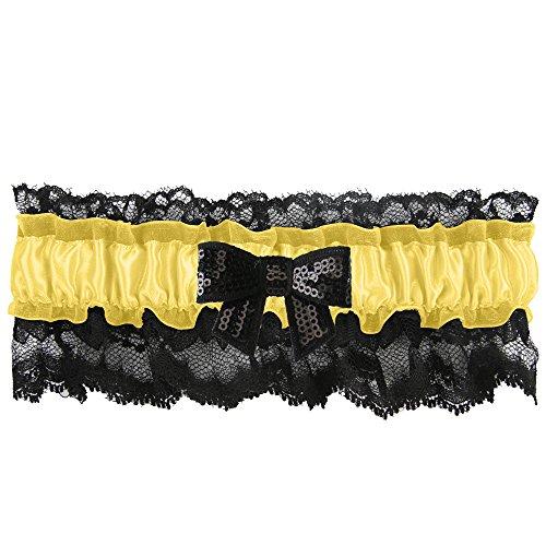Ivy Lane Design Britney Sequin Bow Garter, Standard, (Lemon Sequin)