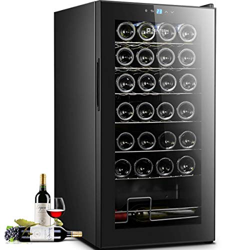 Sentern 28 Bottle Wine Cooler - Quiet Counter Top Wine Chiller, Freestanding Wine Refrigerator with Digital Display (28 -