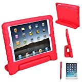 HDE iPad Air 1 Shock Proof Case Bundle for Kids Foam Bumper Cover Child Handle Stand + Stylus Screen Protector for Apple iPad Air 1 (Red)