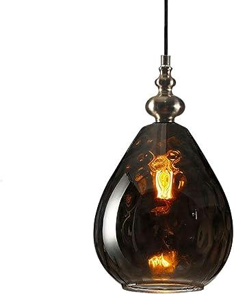 Vintage Vidrio Soplado A Mano Colgante De Luz,mini Loft Industrial Metal Lámparas De Araña,rústico Rural Moderno Iluminación De Colgante Cocina De La Isla Lámpara De Techo-l-ámbar 1-luz: Amazon.es: Iluminación