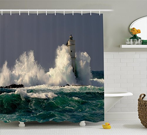 Ambesonne Lighthouse Decor Collection, Lighthouse in Sardinia Italy Splashing Surfing Travel Locations Landmark Image, Polyester Fabric Bathroom Shower Curtain Set, 75 Inches Long, Teal Blue Gray