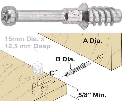 Platte River 866511 Fasteners Knock Down kd 24mm Kd Dowel With 8 5mm Thread 10 Each