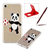 Soft TPU Case for iPhone 8,Shock-Absorbing Rubber Case for iPhone 7,Herzzer Stylish Slim Fit Football Panda Pattern Shockproof Scratch Resist Flexible Silicone Back Cover