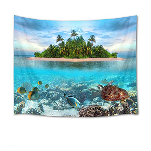 HVEST Ocean Tapestry Wall Hanging Sea Turtle Tapestry Tropical Fish and Coral Reef Under Sea by Island with Palm Trees Wall Blankets for Bedroom Living Room Dorm Decor,80Wx60H inches