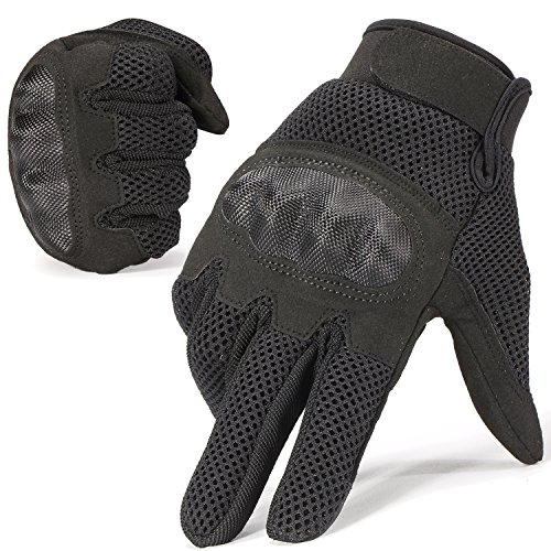 JIUSY Military Shooting Hard Knuckle Tactical Gloves for Airsoft Paintball Motorcycle Cycling Riding Hunting Hiking Army Combat Touch Screen Full Finger Gloves Size Black Small B20