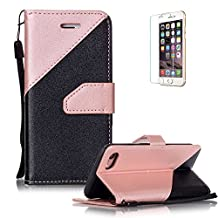 """iPhone 7 Plus 5.5"""" Case [with Free Screen Protector], Funyye Elegant Premium Folio PU Leather Wallet Magnetic Flip Cover with [Wrist Strap] and [Credit Card Holder Slots] Full Protection CaseSkin Shell Different Color SplicingStyle Cover Case for iPhone 7 Plus 5.5""""-Pink"""