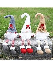 Handfly Gnomo de Felpa para Adornos navideños Gnomo Sueco Hecho a Mano Navidad Santa con piernas largas de Punto Figurilla de Duende nórdico Decoración navideña para el hogar Regalos