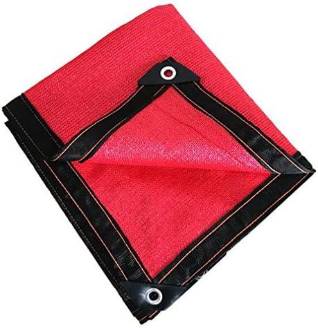 HUYYA 95%日焼け止め シェード 布 ネット、シェーディングネット ミシン目付き 遮光日よけネット 強化エッジ オーニングシェード 角補強 テラス用,Red_2x4m/6x12ft