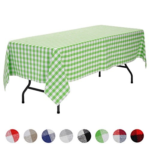 VEEYOO Rectangular Plaid Check Tablecloth Gingham 100% Cotton for Home Kitchen Party Indoor or Outdoor Use 60 x 102 inch (Seats 8 to 10 People), Lime & White