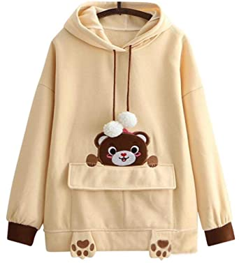 cb36b92f2ca9 CRB Fashion Cosplay Anime Bunny Emo Girls Cat Bear Ears Emo Bear Top Shirt Pullover  Sweater