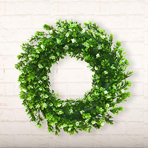 JHFUH Artificial Green Plant Wreath Elegant Charming Plastic Simulation Green Plant Garland Suitable for Home Office Wedding