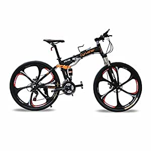 Cyrusher FR100 Men's Full Suspenion 24 Speeds Folding Mountain Bike with 17-Inch X 26-Inch Aluminium Frame Disc Brake, Black (26-Inch)