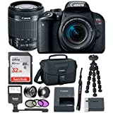 Canon EOS Rebel T7i Digital Camera: 24 Megapixel 1080p HD Video DSLR Bundle With Wide Angle 18-55mm Lens 32GB SD Card Mini Tripod Filter Kit & Flash - Professional Vlogging Sports & Action Cameras