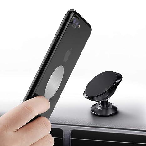 Warxin Soporte Magnético Movil Coche, Mini Móvil Coche Iman para Salpicadero 360° Rotación Universal