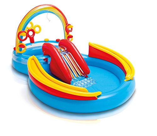 Intex Rainbow Ring Play Center is an outdoor water toy for toddlers and preschoolers
