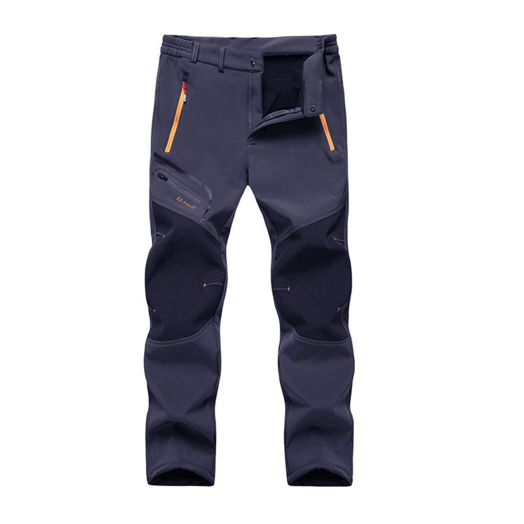 IEasⓄn Men Outdoor Long Pants,Men Mid Waist Patchwork Waterproof Windproof Camping Hiking Warm Thick Trousers Pants Dark Blue