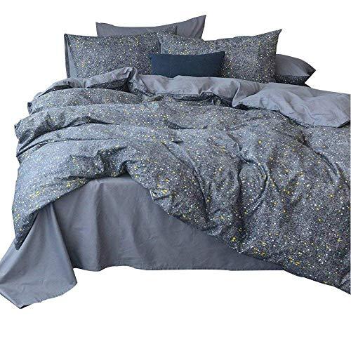 Modern Soft King Duvet Cover Set Cotton Star Universe Print Reversible Bedding Set Lightweight 3 Piece Grey Duvet Comforter Cover Set for Men Boys 1 Duvet Cover with 2 ()