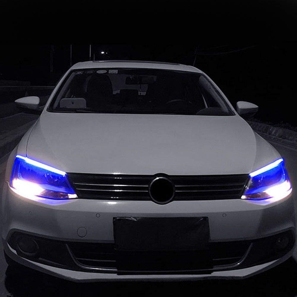 Iswell Auto DRL LED-Tagfahrlicht Wei/ß Blinker-F/ührungsleiste f/ür Scheinwerfer