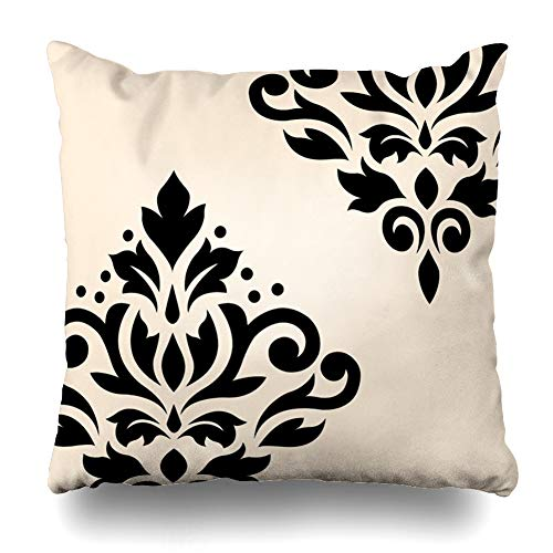 (Suesoso Decorative Pillows Case 18 X 18 Inch Scroll Damask Art I Black Cream Throw Pillowcover Cushion Decorative Home Decor Garden Sofa Bed Car)