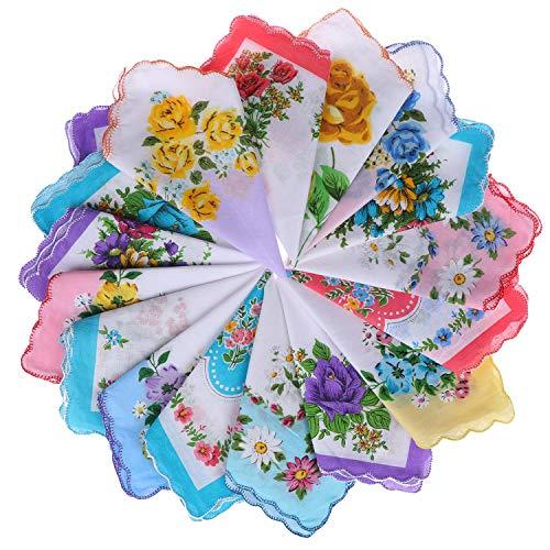 40pcs Women Floral Handkerchiefs Vintage Floral Print Cotton Ladies Handkerchiefs