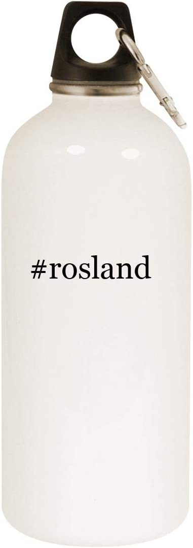 #rosland - 20oz Hashtag Stainless Steel White Water Bottle with Carabiner, White