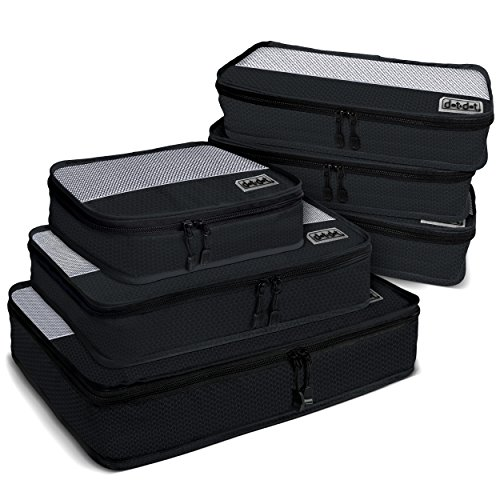 Dot&Dot 6pc Travel Packing Cubes - First Class Luggage Organizers - Make Packing And Sorting A Breeze - Maximize Luggage Space (Packing Large Piece 3 Cubes)
