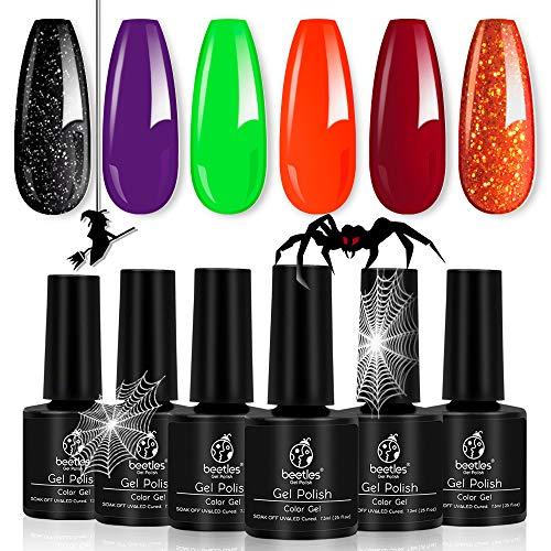 Halloween Black And Orange Nails (Beetles Gel Nail Polish Set, Halloween Nail Art Design Kit, Soak Off UV Nail Lamp LED Cured, 7.3ml Each)
