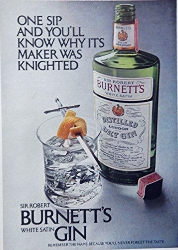 Burnetts Gin - Burnett's Gin, 70's print ad. Color Illustration (sir robert) original 1972 Magazine Art