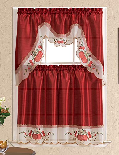 Home Collection 3D Apple Embroidered Kitchen Curtain Tiers & Swag Set Beige-Burgundy, 60x36 & 30x36 by