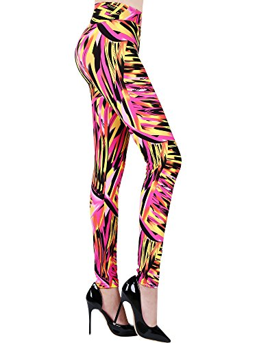 Satinior Soft Printed Fashion Leggings 80s Style with Assorted Designs, Regular Size (for Women Weight under 80 kg/ 175 lbs) (Color (80s Styles For Women)