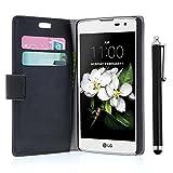 zStarLn® schwarz Hülle Leder Tasche für LG K7 Hülle Handytasche Zubehör Schutzhülle Etui + Stylus pen und 3 Films Schutzfolie
