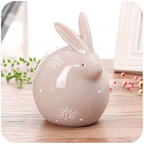 Colias Wing Home Decor-Speckle/&Snowflake Pattern Rabbit Shape Design Coin Bank Money Saving Bank Toy Bank Cents Penny Piggy Bank-White//Grey