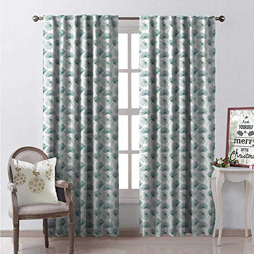 (Tropical Waterproof Window Curtain Rainforest Jungle Pattern Abstract Palm Leaves in Hand Drawn Style Decorative Curtains for Living Room W72 x L108 Jade Green and White)