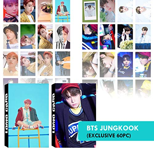 BTS Photocard Set | Jungkook Photocards for Army Fans | Bangtan Boys BTS Postcards, BTS Greeting Card, BTS Picture Card | eKoi BTS Lomo Card KPOP Merchandise - 2 Pack 60 PC
