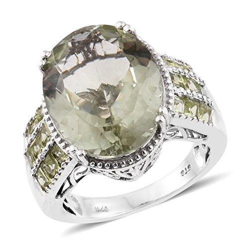 Green Amethyst, Peridot Platinum Plated Silver Ring 15.58 cttw. Size 9 Green Amethyst Platinum Ring