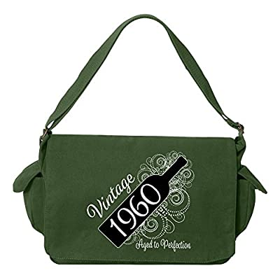 6458dfdb30 Tenacitee Born in 1960 - Aged Like a Fine Wine Brushed Canvas Messenger Bag  durable modeling