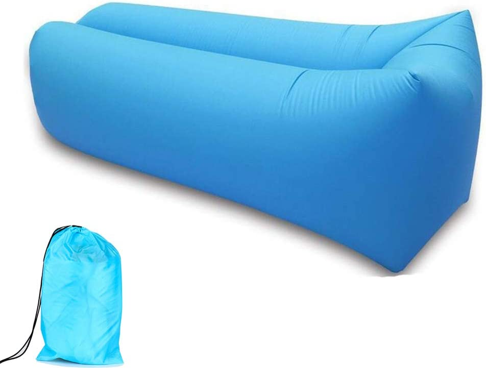 Tumbona inflable, sofá de aire impermeable, tumbona inflable de playa para viajes, camping, picnic, playa, piscina, jardín y patio trasero