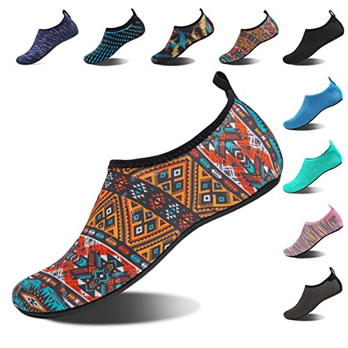 Shoes Fencing (Water Shoes for Womens and Mens Summer Barefoot Shoes Quick Dry Aqua Socks for Beach Swim Yoga Exercise (Bohemia, 38/39))