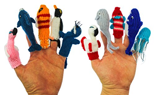 ThumbThings Handmade Finger Puppets Flamingo, Dolphin, Clown Fish, Penguin, Walrus, Roseate Spoonbill, Gray Whale, Tropical Fish, Blue Whale, Jellyfis…
